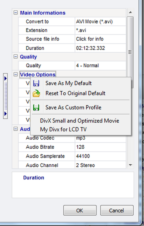Video Converter - Settings